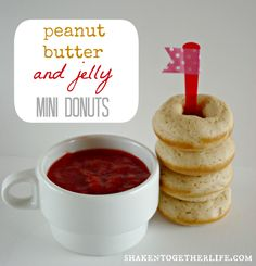 My kids would love me FOREVER if I made these Baked Peanut Butter & Jelly Mini Donuts.