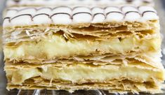 My favorite dessert when I was younger! These mille-feuilles are super easy to make. Pastry Recipes, Dessert Recipes, Cooking Recipes, Dough Recipe, Perfect Food, C'est Bon, Sweet Recipes, Good Food, Food And Drink