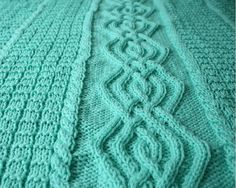 Knitted baby blanket mint green cable afghan warm BL-28