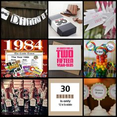 Collage: All image sources available on Amore Star Event's 30th Birthday Ideas Board
