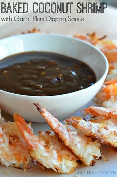 Baked Coconut Shrimp with Garlic Plum Dipping Sauce Healthy Coconut Shrimp, Coconut Shrimp Recipes, Fish Recipes, Seafood Recipes, Appetizer Recipes, Cooking Recipes, Appetizers, Dinner Recipes, Shrimp Dishes