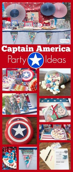Creative and Clever Captain American Party Ideas for Kids & Adults Avengers Birthday, Superhero Birthday Party, 4th Birthday Parties, Boy Birthday, Birthday Ideas, Captain America Party, Captain America Birthday, Capt America, American Party