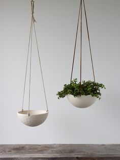 On Sale, Hanging Ceramic Porcelain Planter Medium Size, Geometric Faceted or Smooth finish, choose Hemp or Leather Cording by RevisionsDesign on Etsy https://www.etsy.com/au/listing/205409643/on-sale-hanging-ceramic-porcelain
