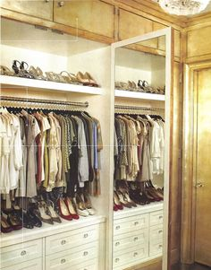 Katie Lee's antiqued silver leaf closet designed by Nate Berkus - more here: http://mylusciouslife.com/famous-folk-at-home-with-nate-berkus/