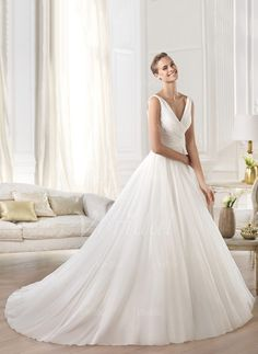 Wedding Dresses - $176.88 - A-Line/Princess V-neck Cathedral Train Chiffon Wedding Dress With Ruffle (0025055897)