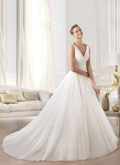 Robes de mariée - $176.88 - Forme Princesse Col V Traîne cathédrale Mousseline Robe de mariée avec Plissé (0025055897)