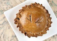 Venison Meat Pies - flour, bread flour, yeast, ground venison, garlic, oregano, parsley, green onion, salt, black pepper, butter, egg