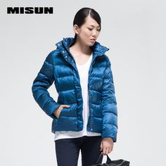 MISUN 2017 duck down coat women high-luminance color thickening with a hood slim long-sleeve zippers short outerwear down jacket