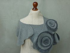 Upcycled Recycled Shawl made of wool sweater by sweettrend on Etsy, via Etsy.