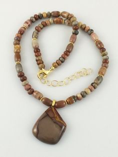 Jasper Pendant Necklace on Strand of Rainbow Onyx and Gold Beads with Gold Plated Chain and Twisted Jump Rings