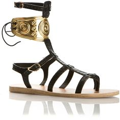 Ancient Greek Sandals X Ilias Lalaounis Black Watersnake Rhodes... ($540) ❤ liked on Polyvore featuring shoes, sandals, wing shoes, buckle sandals, black sandals, black buckle sandals and kohl shoes