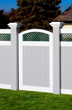 illusions pvc vinyl inch posts with gray white green gate Vinyl Fence Panels, Privacy Fence Panels, Vinyl Railing, Wood Vinyl, Pvc Vinyl, Painted Wood Fence, Tongue And Groove Panelling, Square Lattice, Diy Fence