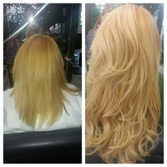 Before and after color and Great Lengths Extensions!  For a consultation with Wanda please call 856-751-2233