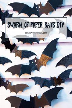 Swarm of Paper Bats DIY Halloween Wall Decoration Halloween Bedroom, Halloween Wall Decor, Diy Halloween Decorations, Halloween Projects, Halloween Diy, Halloween Goodies, Halloween 2020, Halloween Printable, Halloween Activities