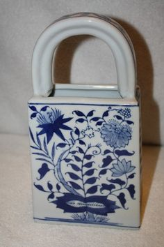 """Formalities blue and white porcelain purse vase. Measures approx: 10"""" x 5"""" x 3"""" by Baum Bros China MINT $15.50 Vases For Sale, Lady Dior, White Porcelain, Blue And White, Mint, Purses, Bags, Fashion, Handbags"""