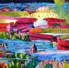 Water Lilies Painting - Harmony of Color and Light by John Lautermilch Artwork Online, Buy Art Online, Online Painting, Online Art Gallery, Sell Artwork, Water Lilies Painting, Pond Painting, Lily Painting, Art Auction