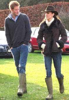 Coordinated outfits: Prince Harry and Kate go to watch Prince William play football in their matching boots