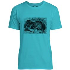 Mintage Otter with Fish Mens Fine Jersey T-Shirt (Teal)