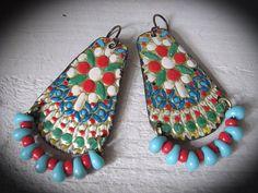 Tin Earrings, Vintage Tin Earrings, Bohemian Tin Earrings, Dangle Gypsy Earrings