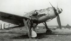 Gerhard Michalski (73 victories) in front of his FW 190 D-9, near Frankfurt in 1945