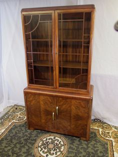 Small Fretted Art Deco Style Waterfall China Cabinet / Bookcase ...