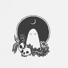 and white halloween tattoos Halloween Illustration, Illustration Art, Art Sketches, Art Drawings, Ghost Drawings, Tattoo Sketches, Drawing Art, Tattoo Drawings, Ghost Tattoo