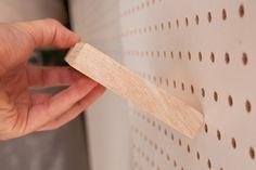 Diy wood shelves for pegboard.