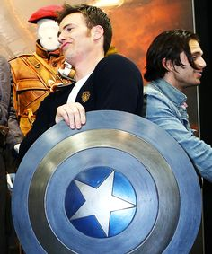 They're just too cute. Chris Evans & Sebastian Stan from Captain America: The Winter Soldier