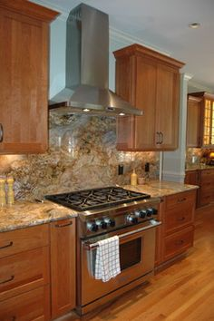 Transitional Kitchen with Fusion Granite - very similar colors to your kitchen; cabinets and counter tops