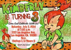 Flintstones Pebbles Glitter Birthday Party Digital Invitation Instagram: @WCGraphixs WCGraphixs@GMAIL.com