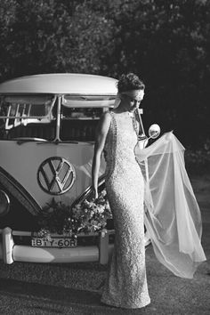 black and white vw bus bride photo
