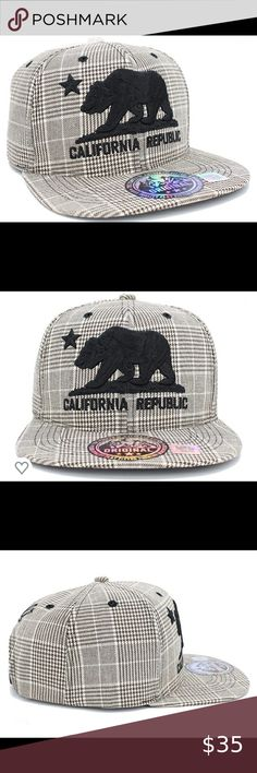 California Republic hat Mesh Foam cap Gold Bear Snapback Baseball cap-Light Gray