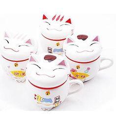 gato caneca de café cerâmica sorte com cor aleatória tampa, 9.5x8x11cm – BRL R$ 34,48