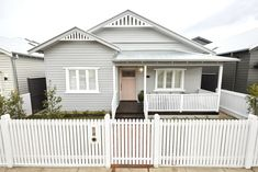 The Block series 13 front facade and garden reveals - The Interiors Addict Weatherboard House, Queenslander, Cottage Exterior, House Paint Exterior, Bungalow Exterior, The Block, Front Gardens, Beach Cottage Decor, Cottage Rugs