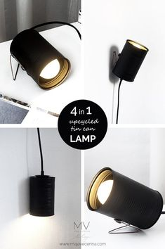 Here is a new recycle project idea for you. I made a 4 in 1 modern industrial tin can lamp. It can stand on a copper base, I can lay it down on the desk, I can hang it on the wall so it shines toward the ceiling or it can hang freely and shines toward the Luminaria Diy, Desk Lamp, Table Lamp, Diy Cans, Bedroom Lamps, Lamp Design, Diy Home Decor, Decor Crafts, Canning
