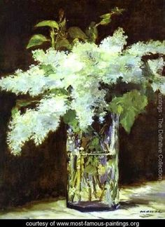 I painted a copy of this painting in college! Lilac In A Glass - Edouard Manet - www.most-famous-paintings.org