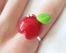 Shiny Red Apple Ring - Handcrafted Polymer Clay Jewelry - Silver Plated, Nickel Free, Lead Free Ring