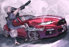 red and white Ford Mustang with white haired anime character anime girls short hair grey hair Ford Mustang Anime Girl Short Hair, Anime Art Girl, Anime Girls, Audi, Anime Military, High Resolution Wallpapers, Character Wallpaper, Art Station, Car Drawings