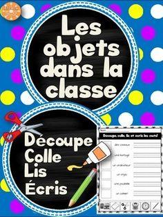 Les objets dans la classe - découpe et colle. Les élèves lisent les mots, découpent les images en bas de la page, les collent à la bonne place et écrivent les mots sur les lignes données. Vocabulaire des objets dans la classe.
