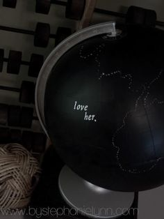 Under The Table and Dreaming: Chalkboard Globe Makeover {Message Center}
