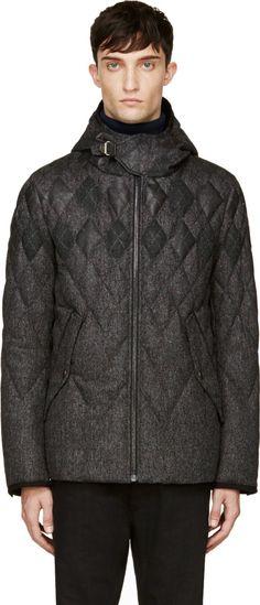 Moncler Gamme Bleu: Grey Wool & Fur Quilted Argyle Jacket | SSENSE
