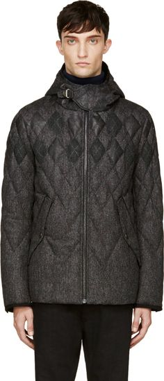 Moncler Gamme Bleu: Grey Wool & Fur Quilted Argyle Jacket | SSENSE