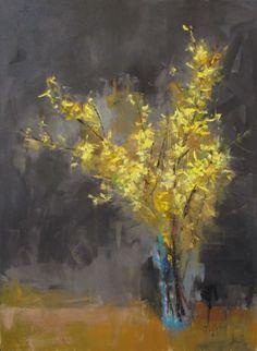 "Barbara Flowers, ""Yellow Forsythia"", Oil on Canvas, 48x36 - Anne Irwin Fine Art"