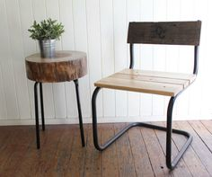 Rustic chair and tree stump table by CabinClub on Etsy, $300.00