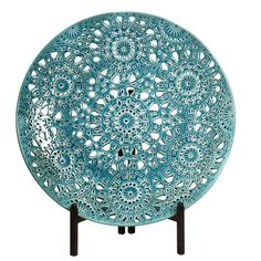 Decorative Turquoise Charger Plate On A Stand.