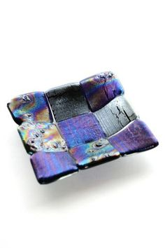 """Denault Studios features the Quilted Iridescent Fused Glass 5"""" Dish from Denault Studios."""