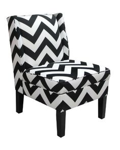 Skyline Furniture Wingback Chair in Zig Zag Black and White