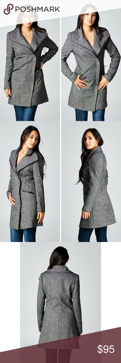 Long Sleeve Two Pocket Asymmetrical Coat Love Stitch-Textured coat with two pockets and a front asymmetric zipper closure.  Features pockets and faux leather trimming along the zipper line.     46% Polyester 40% Acrylic 8% Wool 6% Other       Size - S,M,L      Color - Charcoal Classic Paper Doll Jackets & Coats Pea Coats