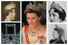 Princess Ingeborg of Sweden; Queen Sonja of Norway; Crown Princess Märtha of Norway; Queen Sofia of Sweden; tiara detail