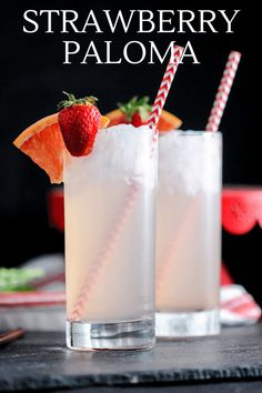 This Strawberry Paloma is a strawberry twist on the classic Paloma.  Tequila, grapefruit soda, strawberry simple syrup and lime combine for  this refreshing cocktail! #cocktails #strawberry #tequila Grapefruit Tequila, Grapefruit Cocktail, Tequila Drinks, Cocktail Tequila, Refreshing Cocktails, Classic Cocktails, Summer Drinks, Strawberry Cocktails, Strawberry Tequila
